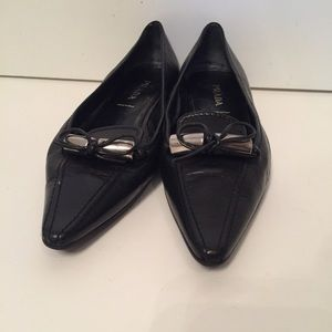 ⭐️PRADA SHOES FLATS BLACK LEATHER POINTED TOE 38.5